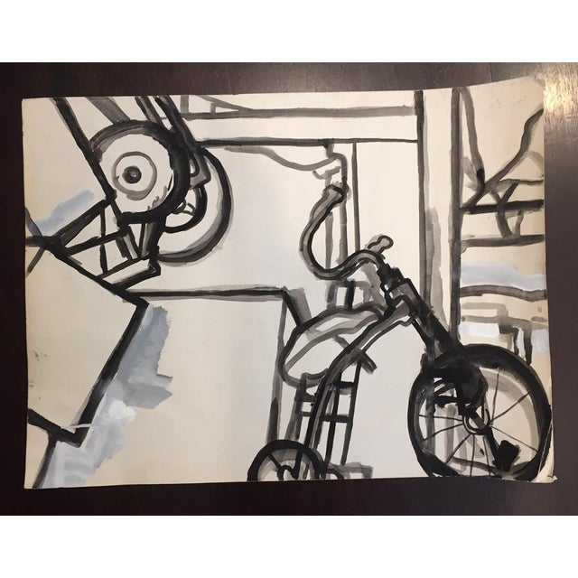 Vintage Graphic Black & White Abstract Watercolor - Image 2 of 5