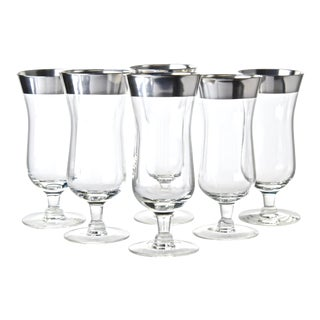 Mid 20th Century Sterling Overlay Cocktail Glasses - Set of 6 For Sale