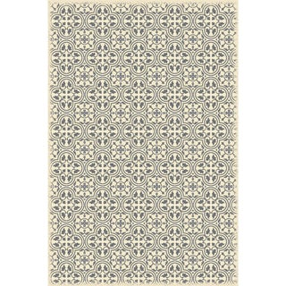 Gray & White Quad European Design Rug - 4' X 6'
