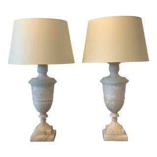 1950s Tall Alabaster Urn Lamps - a Pair For Sale