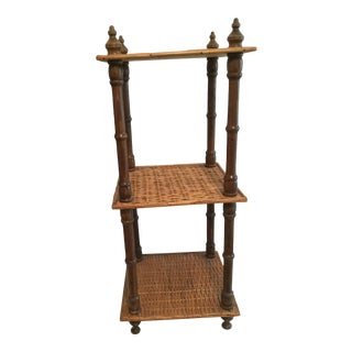 1980s Wicker and Wood Side Table For Sale