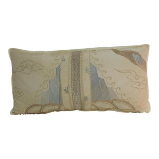 19th Century Asian Embroidered Deco Dragon Silk Bolster Decorative Pillow For Sale
