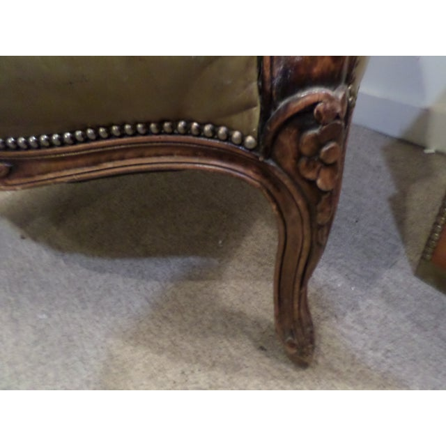 Louis XV Style Carved Beechwood & Leather Porter Chair For Sale - Image 10 of 12