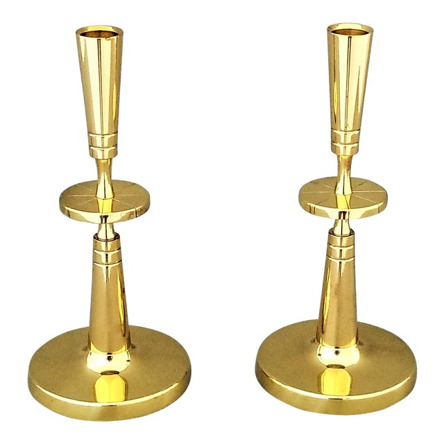 Restored Solid Brass Candlesticks by Parzinger- a Pair For Sale