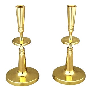 Restored Solid Brass Candlesticks by Parzinger- a Pair -Mid Century Modern Hollywood Regency Boho Chic Tropical Coastal MCM Palm Beach French Art Deco