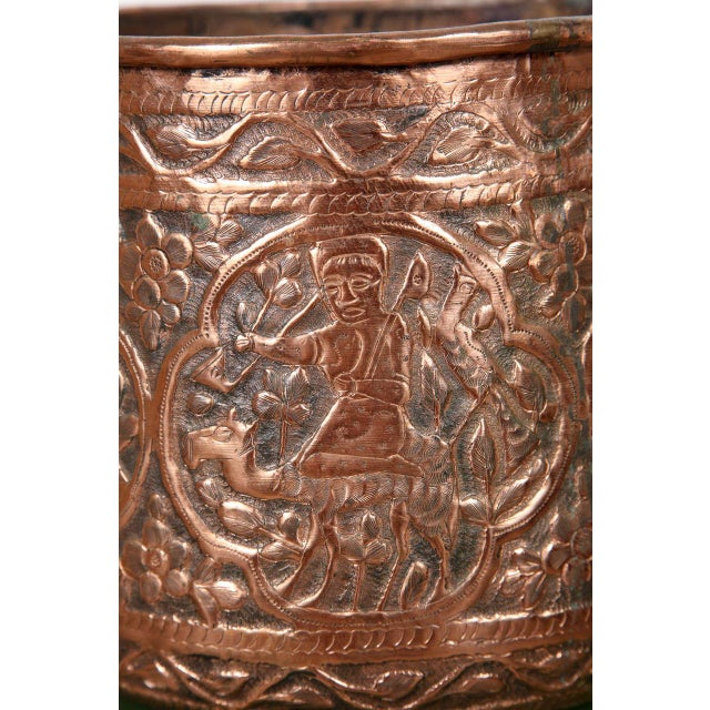 Early 20th Century Copper Hand Etched Egyptian Pot Jardiniere For Sale - Image 5 of 6