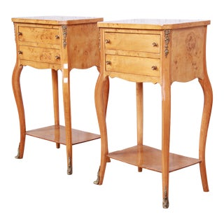 French Louis XV Style Burl Wood Nightstands, Pair For Sale