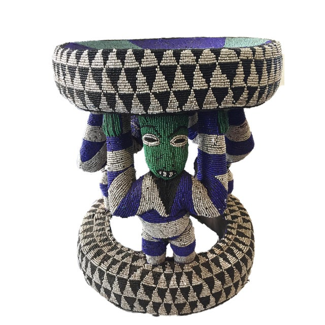 "Wood African Beaded wood Bamileke Stool /Table Cameroon 19'""H For Sale - Image 7 of 12"
