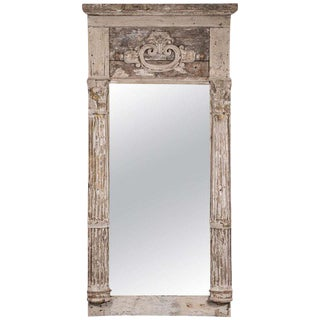 Creamy White Painted French Mirror For Sale