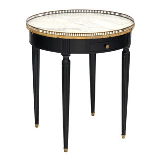 Louis XVI Style Ebonized Bouillotte Table With Carrara Marble Top For Sale