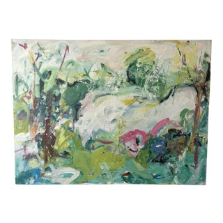 "1980s Ellen Reinkraut ""Landscape Vibrations"" Original Abstract Expressionist Painting For Sale"