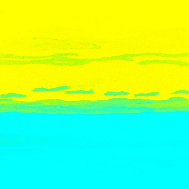 Sunset #4 Yellow, Turquoise & Lime Ltd Ed Print - Image 1 of 2