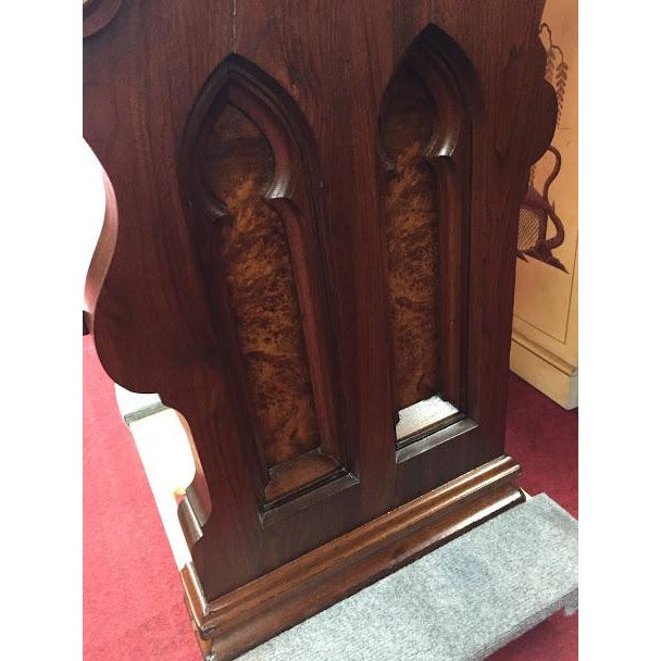 Wood Antique Walnut and Ash Church Pew For Sale - Image 7 of 10