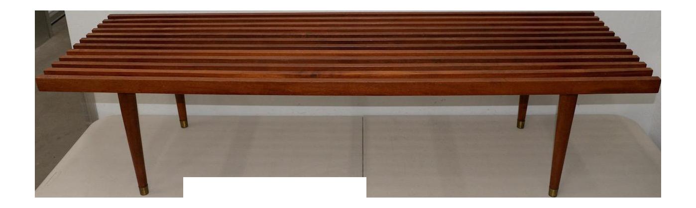 Ordinaire Mid Century Modern Wood Slat Coffee Table C.1960