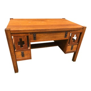 Antique Arts and Crafts Mission Style Writing Desk Table For Sale