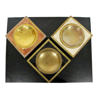 Contemporary Modern Maitland Smith Set 3 Tessellated Stone Brass Vide Poche Bowl For Sale