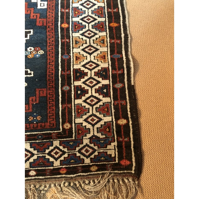 Textile Antique Area Rug in Blues and Cranberry For Sale - Image 7 of 10
