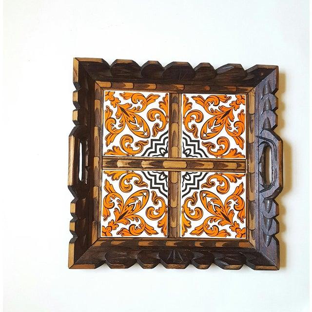 Ceramic Serving Tray Wood & Tile Hand Carved Wooden Trivet Hot Pad Vintage Kitchen Barware For Sale - Image 7 of 7