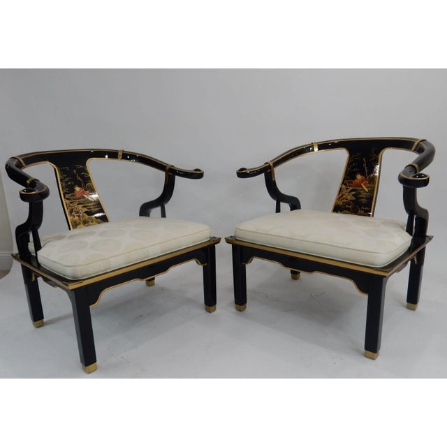 Century Black & Gold Chinoiserie Horseshoe Back Chairs - A Pair - Image 8 of 11