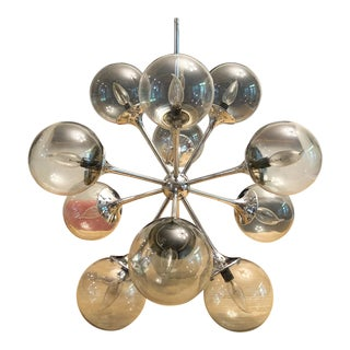 Lightolier 12 Globe Sputnik Smoked Glass Chandelier For Sale