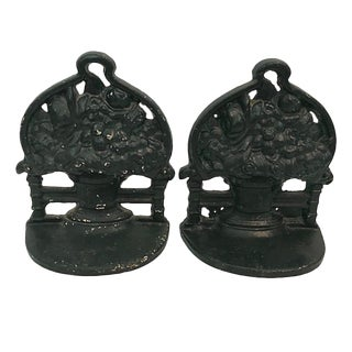 Cast Iron Flower Basket Bookends - a Pair For Sale