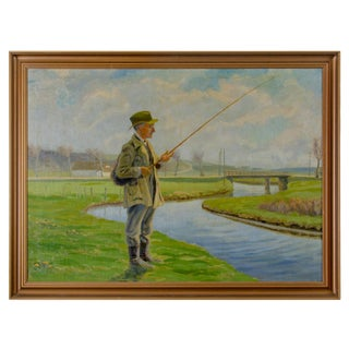 Traditional Fisherman Oil Painting on Canvas For Sale