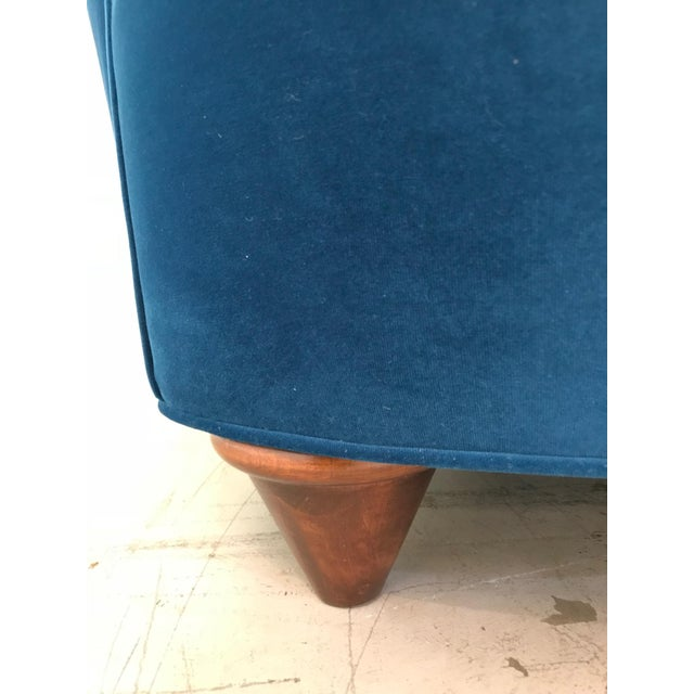 Walnut 1960s Art Deco Asymmetrical Blue Upholstereed Channel Back Sofa For Sale - Image 7 of 9