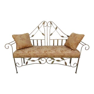 Wrought Iron and Wire Gilt Settee on Hairpin Legs
