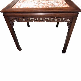 19th Century Chinese Carved Hongmu and Marble Square Table Preview