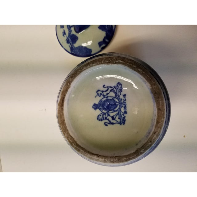 Chinese Blue Willow Ironstone Covered Jar For Sale - Image 4 of 5