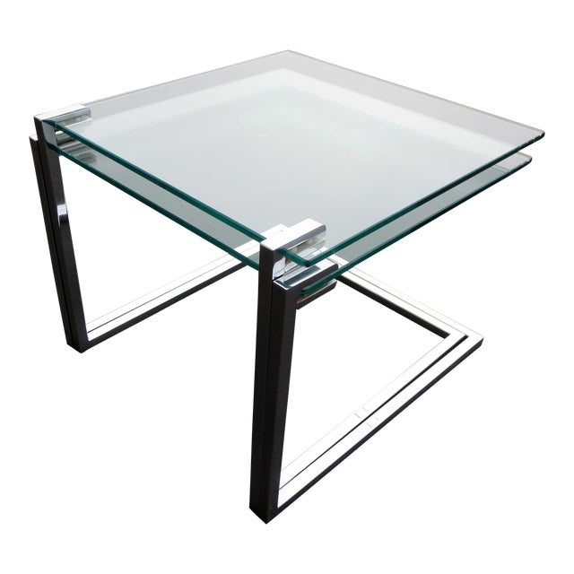 Vintage Modern Glass Chrome Nesting Tables - Pair - Image 1 of 5