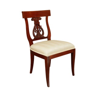 Kindel Solid Mahogany Neoclassical Lyre Back Side Chair For Sale
