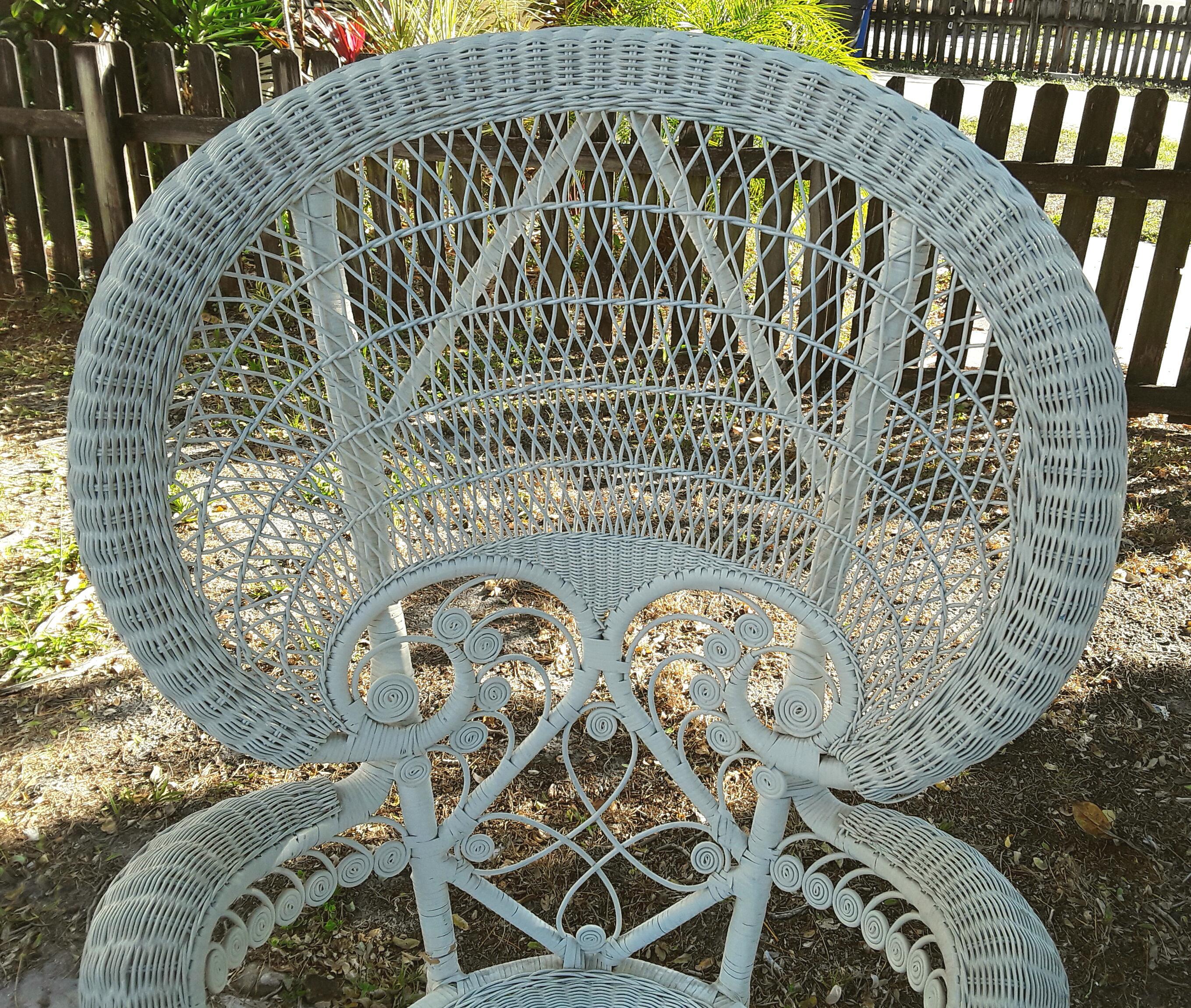 Vintage Bohemian White Wicker Peacock Fan Chair   Image 5 Of 5