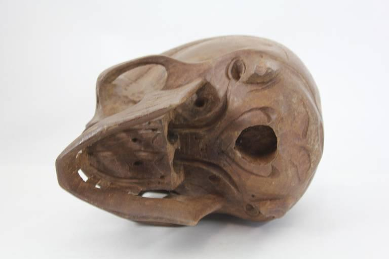 Vintage hand carved wooden skull chairish