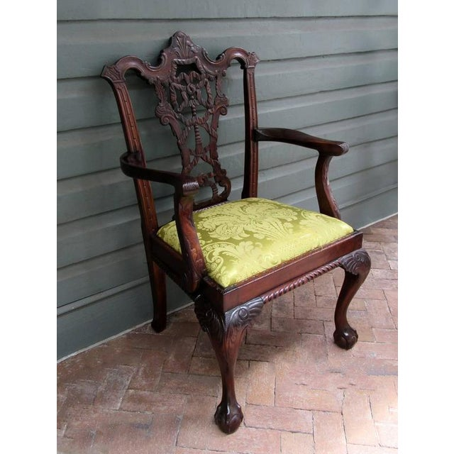 Mahogany Set of Eight 20th Century English Chinese Chippendale Mahogany Dining Chairs For Sale - Image 7 of 10