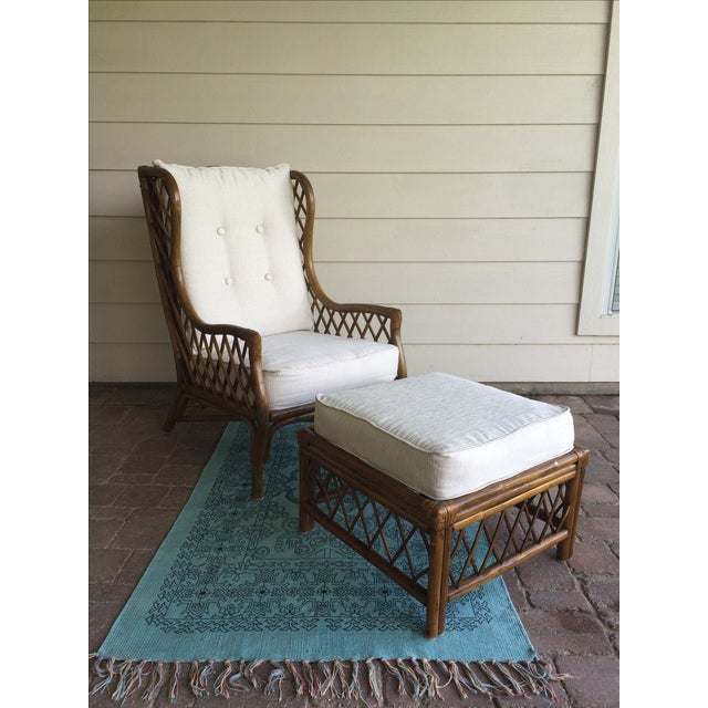 Rattan Wingback Chair & Ottoman - Image 2 of 5