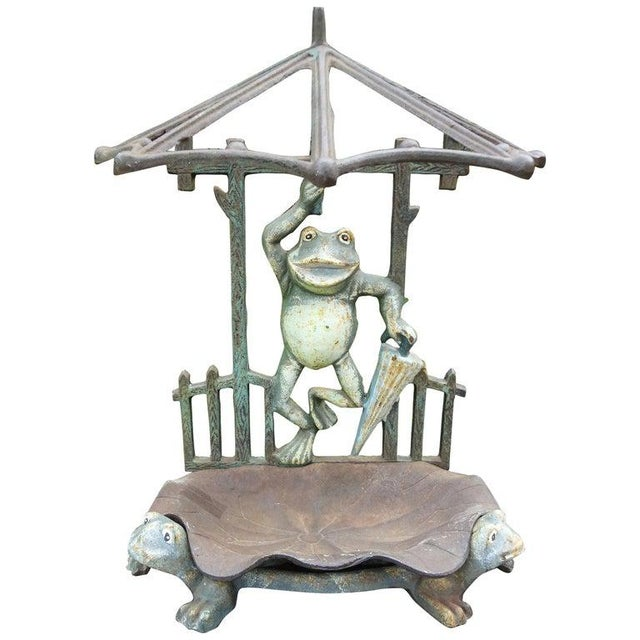 French Art Nouveau Wrought Iron Umbrella Stand For Sale - Image 11 of 12