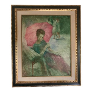 Large Portrait Painting of Woman With an Umbrella For Sale