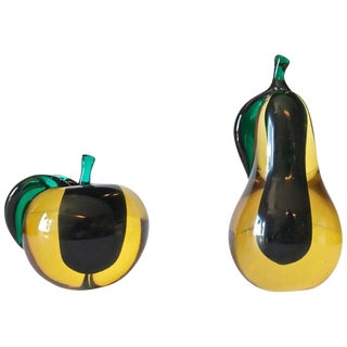 A Pair of Large Salviati Murano Pear and Apple Sculpture For Sale