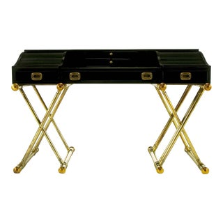 Black Lacquer Brass Faux Bamboo Base Campaign Secretary Roll Top Style Desk For Sale