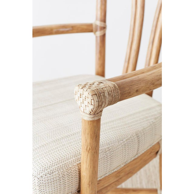 Wood Pair of McGuire Organic Modern Bamboo Rattan Armchairs For Sale - Image 7 of 13