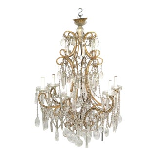 Eight Light Vintage Italian Beaded Crystal Chandelier For Sale