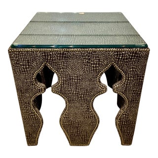 Moorish Drexel Heritage Upholstery Wrapped Side Table For Sale