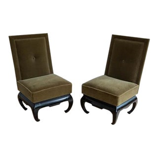 Pair of Baker Style Mohair Slipper Chairs For Sale