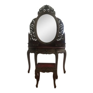 Ornate Jeweled Vanity & Bench