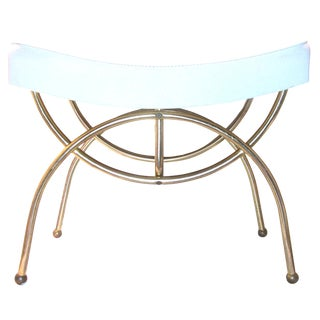 Art Deco Vanity Bench in White & Brass For Sale