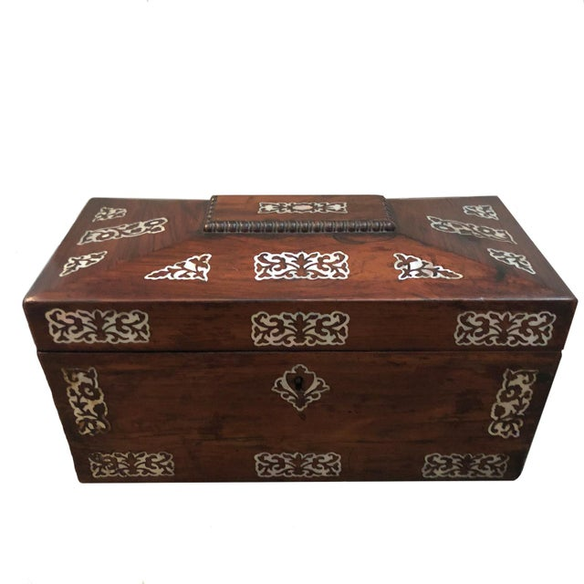 Mid 19th Century Mid 19th Century Vintage English Rosewood Mother Pearl Inlay Tea Caddy For Sale - Image 5 of 5