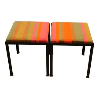1960's Mid-Century Pair of Danny Ho Fong for Tropi-Cal Iron and Velvet Upholstered Stools For Sale