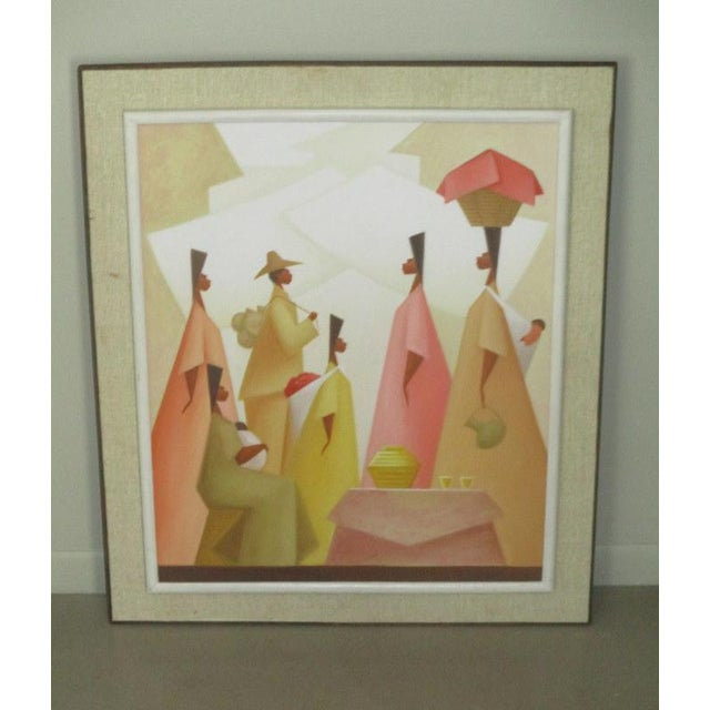 Canary Yellow Vintage Latin American Figural Painting by Avelino Rocha For Sale - Image 8 of 8