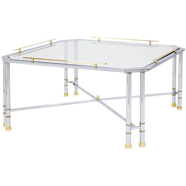 Chrome Brass & Glass Coffee Table For Sale - Image 10 of 10